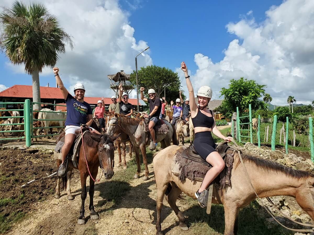Group of riders leaving to horseback ride in Punta Cana